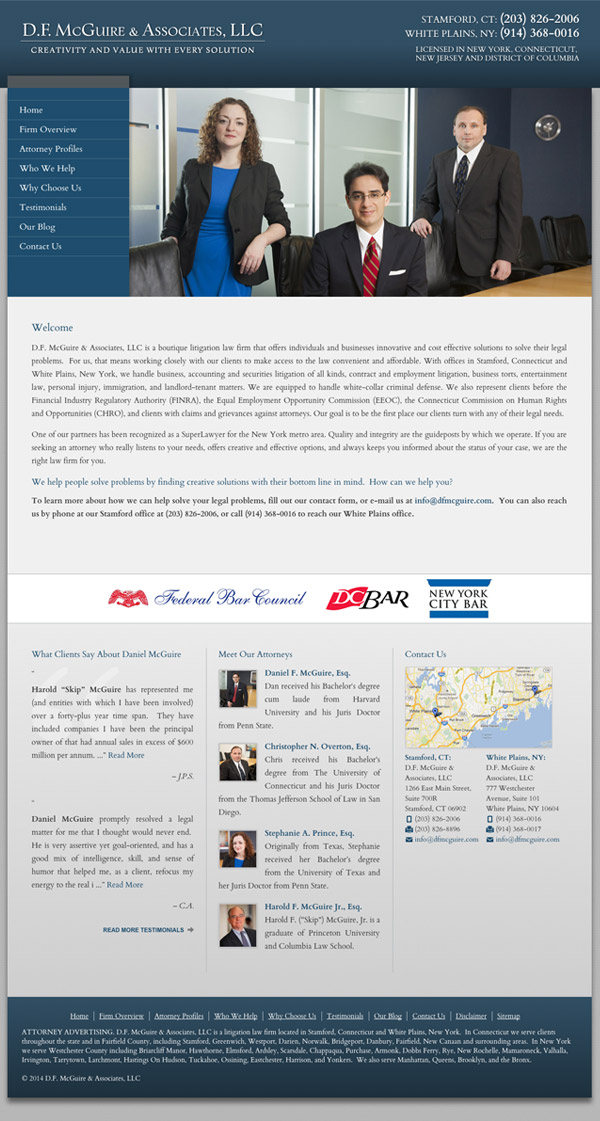 Law Firm Website for D.F. McGuire & Associates, LLC