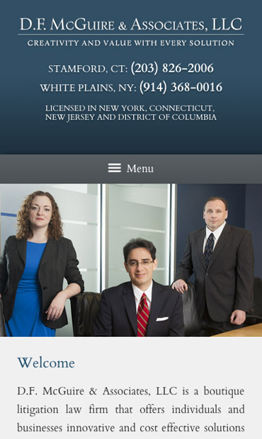 Responsive Mobile Attorney Website for D.F. McGuire & Associates, LLC
