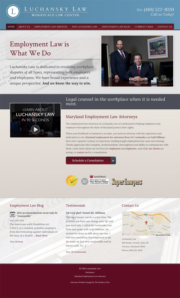Law Firm Website Design for Luchansky Law