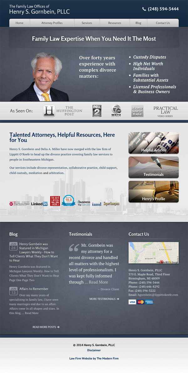 Law Firm Website Design for Henry S. Gornbein, PLLC
