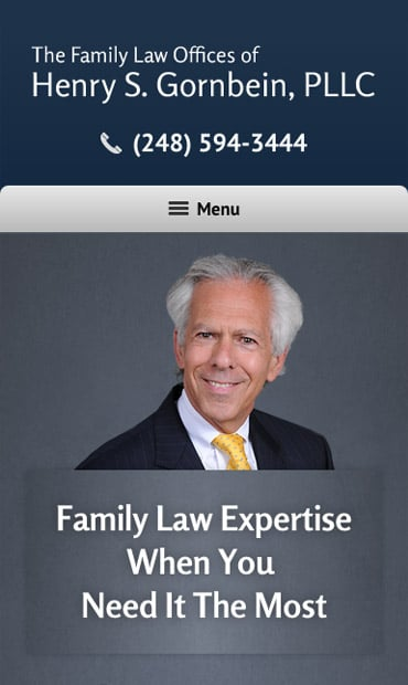 Responsive Mobile Attorney Website for Henry S. Gornbein, PLLC