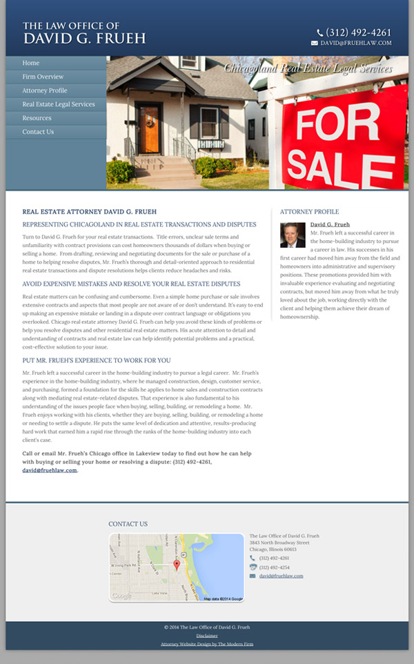 Law Firm Website Design for Law Office of David G. Frueh