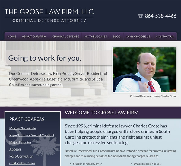 Mobile Friendly Law Firm Webiste for The Grose Law Firm, LLC