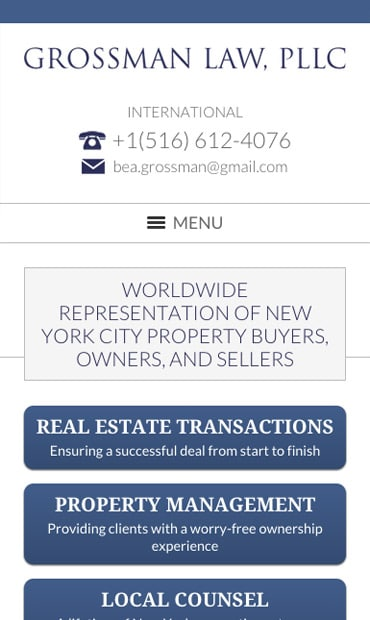 Responsive Mobile Attorney Website for Grossman Law, PLLC