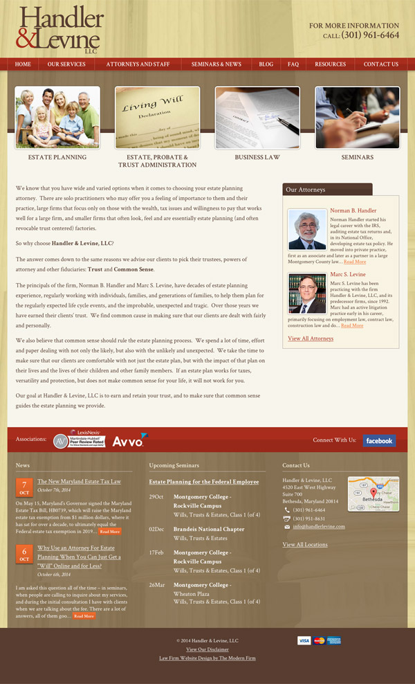 Law Firm Website Design for Handler & Levine LLC