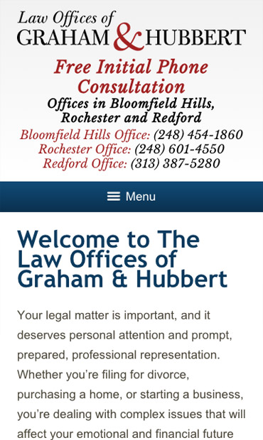 Responsive Mobile Attorney Website for Law Offices of Graham & Hubbert