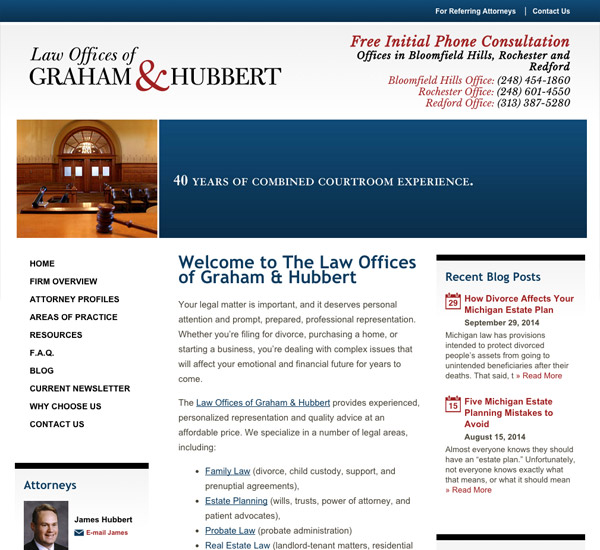 Mobile Friendly Law Firm Webiste for Law Offices of Graham & Hubbert