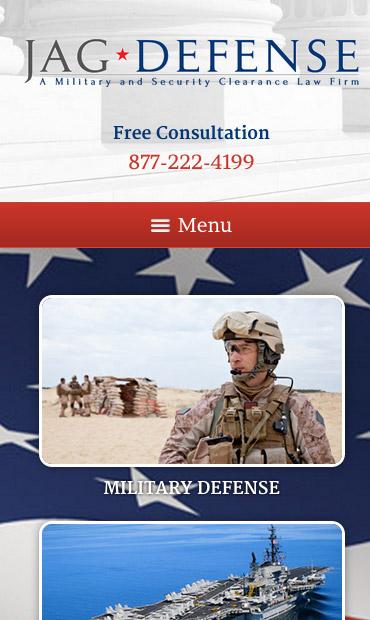Responsive Mobile Attorney Website for JAG Defense