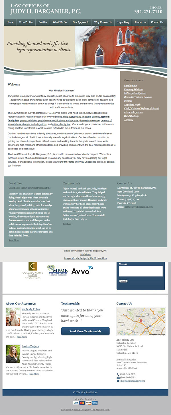 Law Firm Website Design for Law Offices of Judy H. Barganier, P.C.