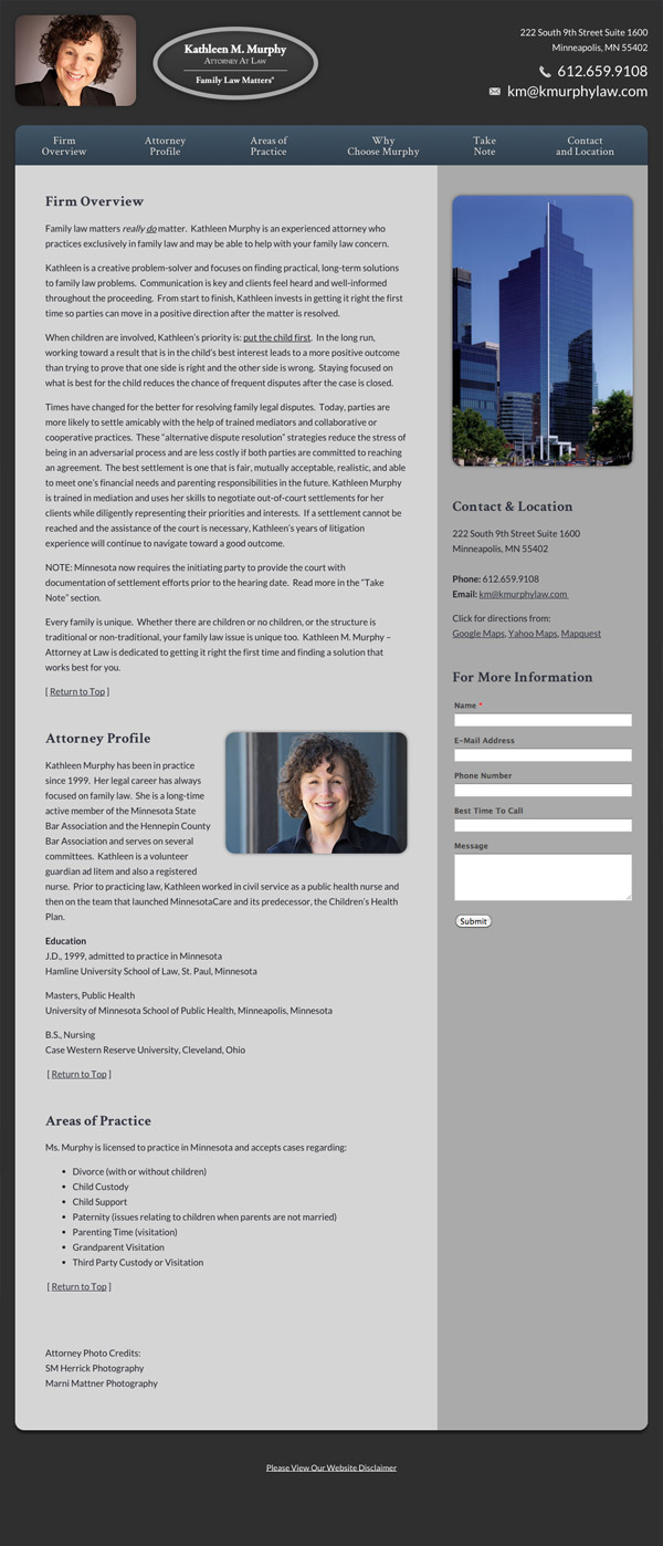 Law Firm Website for Kathleen M. Murphy, Attorney at Law