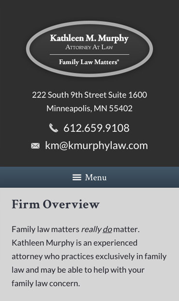 Responsive Mobile Attorney Website for Kathleen M. Murphy, Attorney at Law