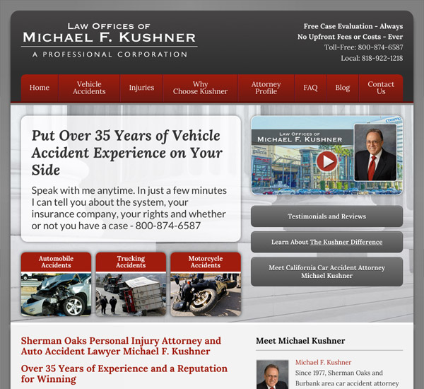 Mobile Friendly Law Firm Webiste for Law Offices of Michael F. Kushner