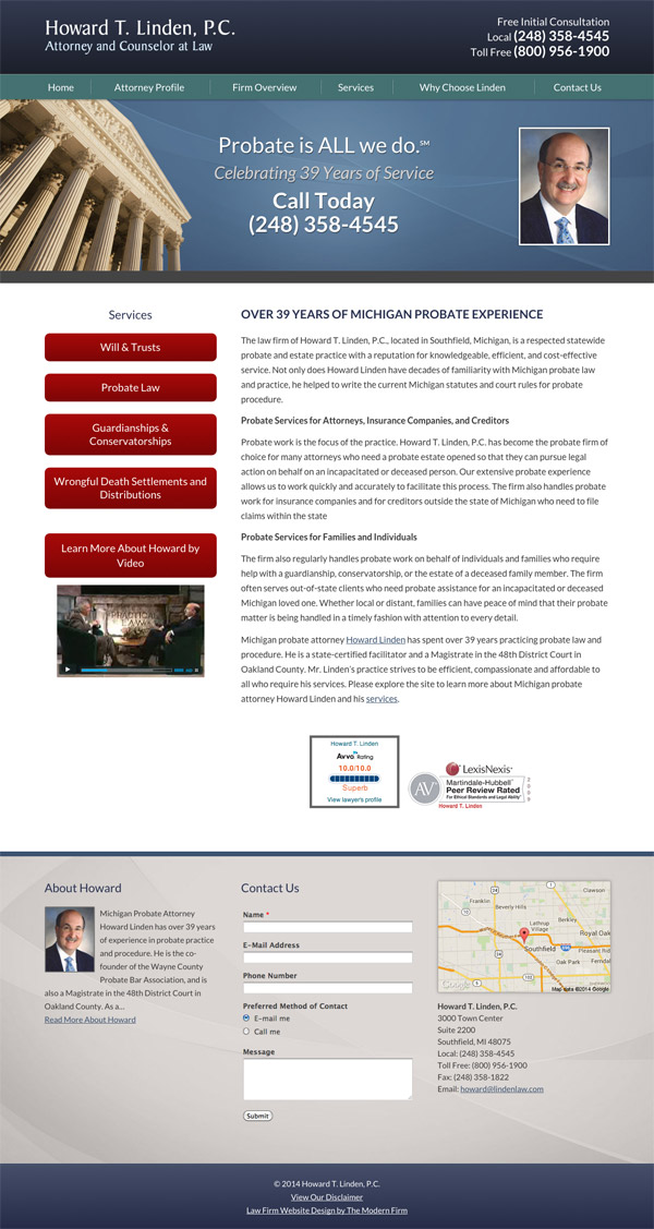 Law Firm Website Design for Howard T. Linden, P.C.