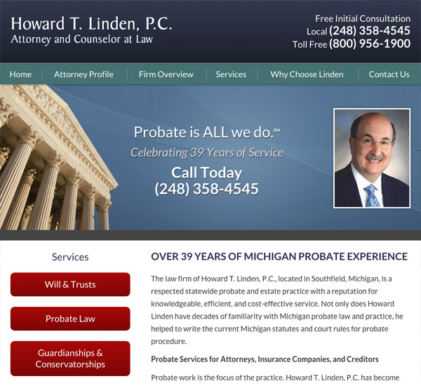 Mobile Friendly Law Firm Webiste for Howard T. Linden, P.C.