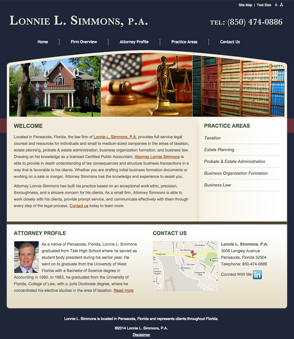 Law Firm Website Design for Lonnie L. Simmons, P.A.