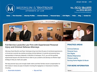 Law Firm Website design for Mushlin & Vantrease, Atto…