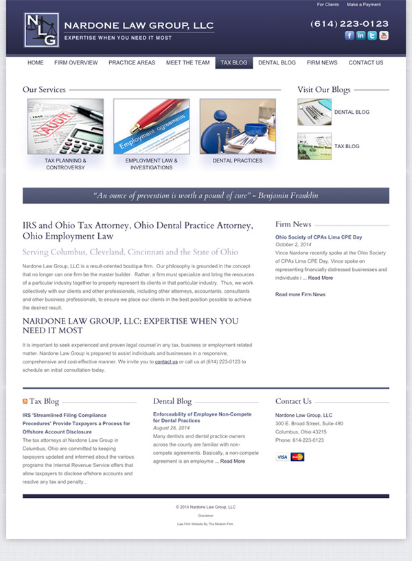 Law Firm Website for Nardone Law Group, LLC