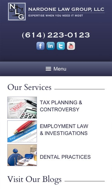 Responsive Mobile Attorney Website for Nardone Law Group, LLC