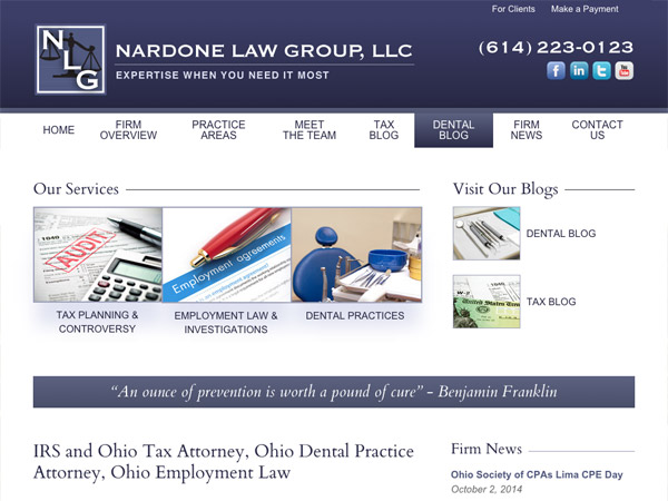 Mobile Friendly Law Firm Webiste for Nardone Law Group, LLC