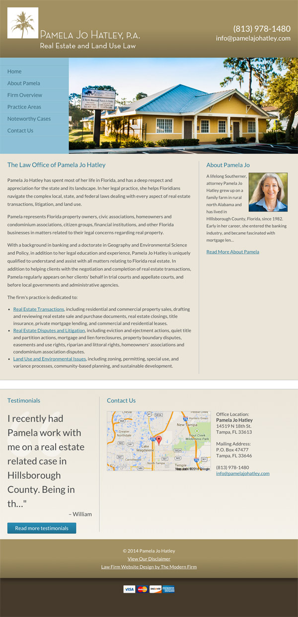 Law Firm Website for Pamela Jo Hatley, P.A.