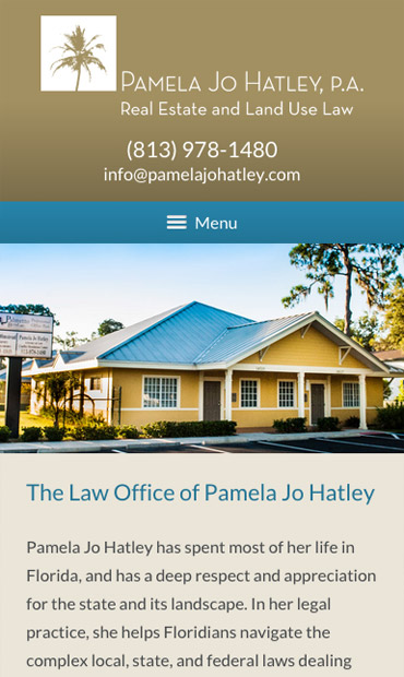 Responsive Mobile Attorney Website for Pamela Jo Hatley, P.A.
