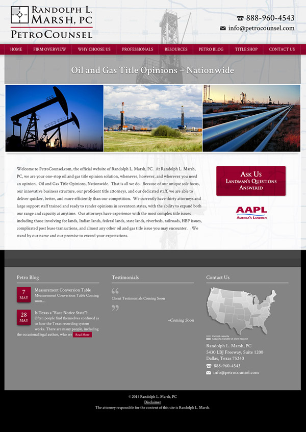 Law Firm Website Design for PetroCounsel - Randolph L. Marsh, PC