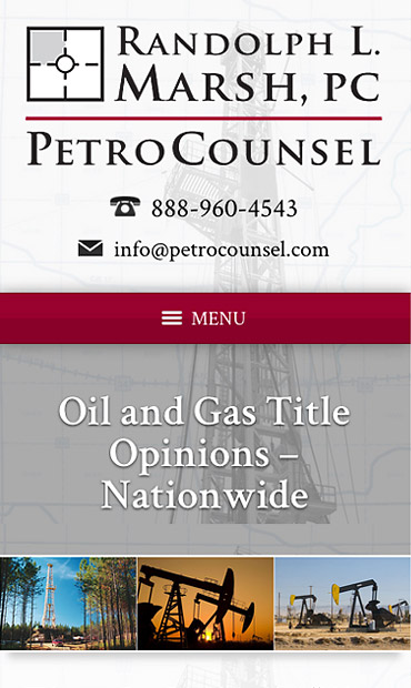 Responsive Mobile Attorney Website for PetroCounsel - Randolph L. Marsh, PC