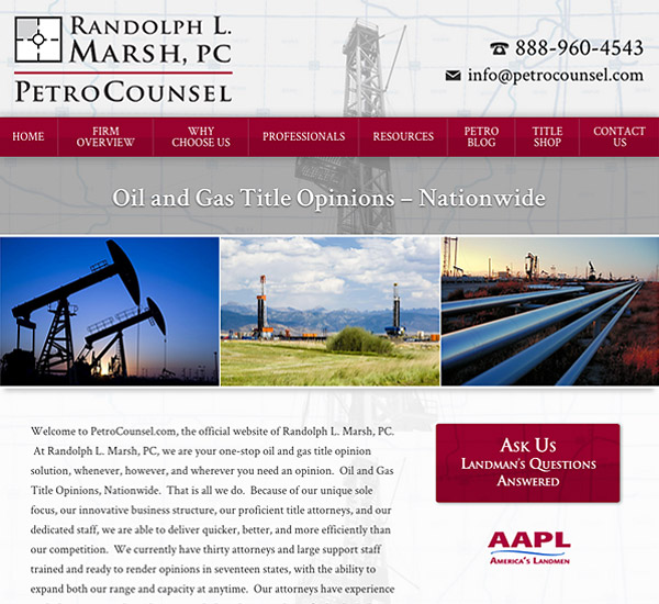 Mobile Friendly Law Firm Webiste for PetroCounsel - Randolph L. Marsh, PC