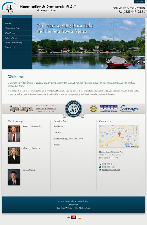 Law Firm Website Design for Huemoeller & Gontarek PLC