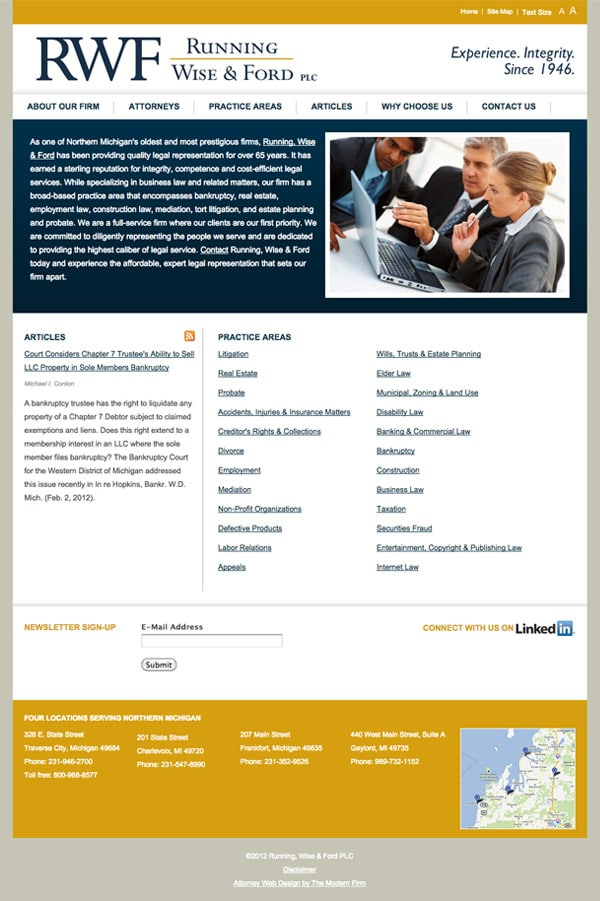 Law Firm Website for Running, Wise & Ford PLC