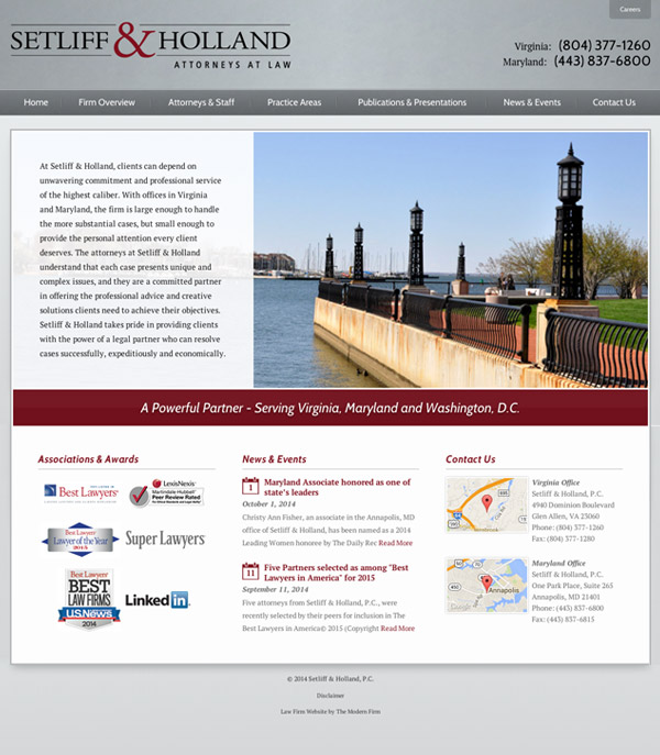 Law Firm Website Design for Setliff & Holland, P.C.
