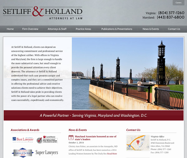 Mobile Friendly Law Firm Webiste for Setliff & Holland, P.C.