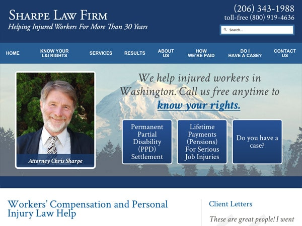 Mobile Friendly Law Firm Webiste for Sharpe Law Firm