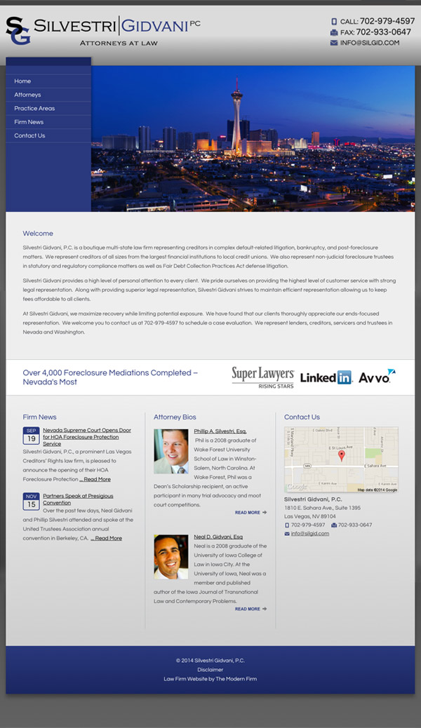 Law Firm Website Design for Silvestri Gidvani, P.C.