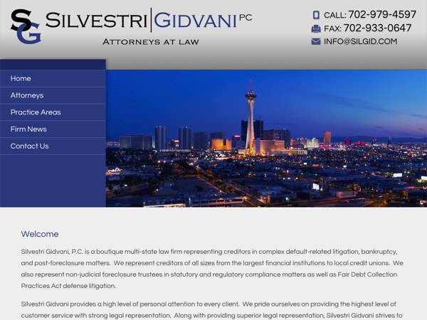 Mobile Friendly Law Firm Webiste for Silvestri Gidvani, P.C.