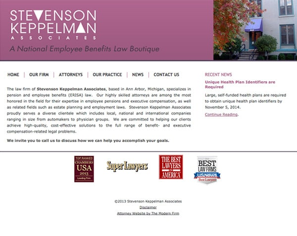 Law Firm Website Design for Stevenson Keppelman Associates