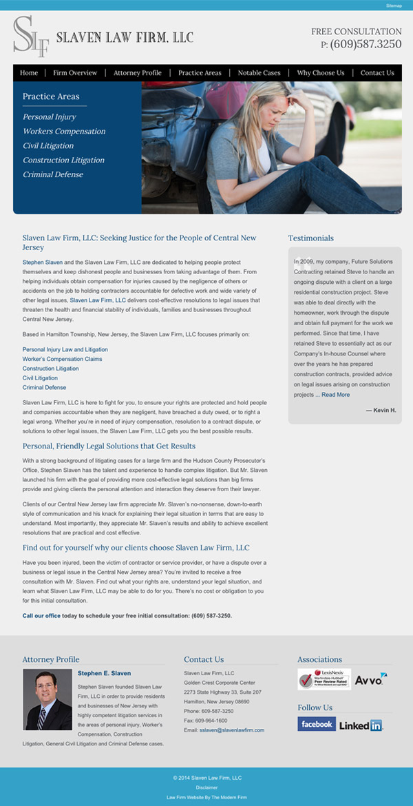 Law Firm Website for Slaven Law Firm, LLC