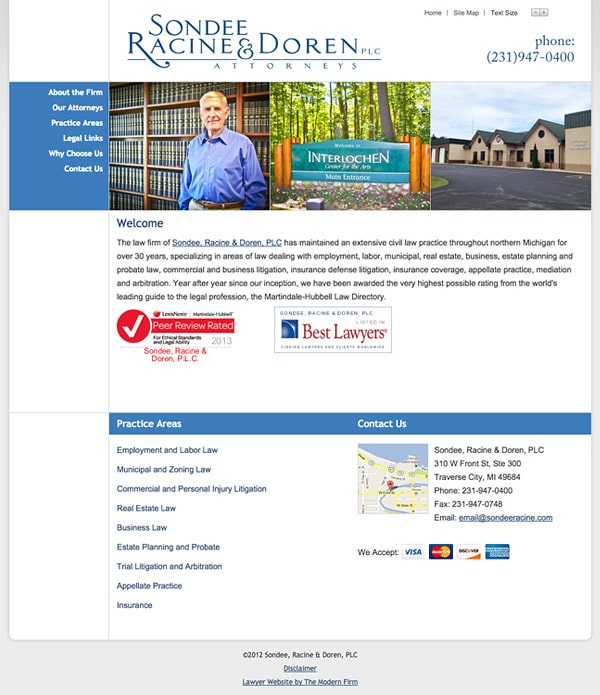 Law Firm Website for Sondee, Racine & Doren, PLC