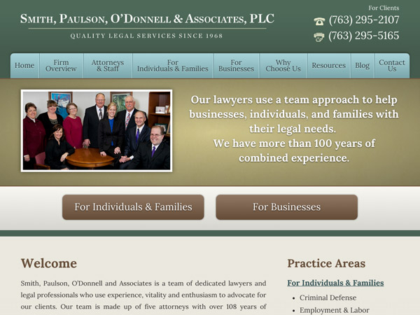 Mobile Friendly Law Firm Webiste for Smith, Paulson, O'Donnell & Associates, PLC