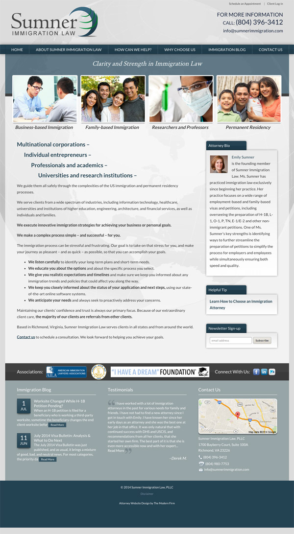 Law Firm Website for Sumner Immigration Law, PLLC