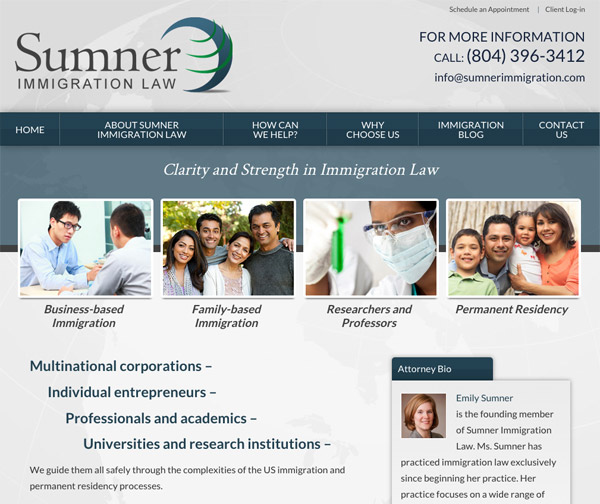 Mobile Friendly Law Firm Webiste for Sumner Immigration Law, PLLC