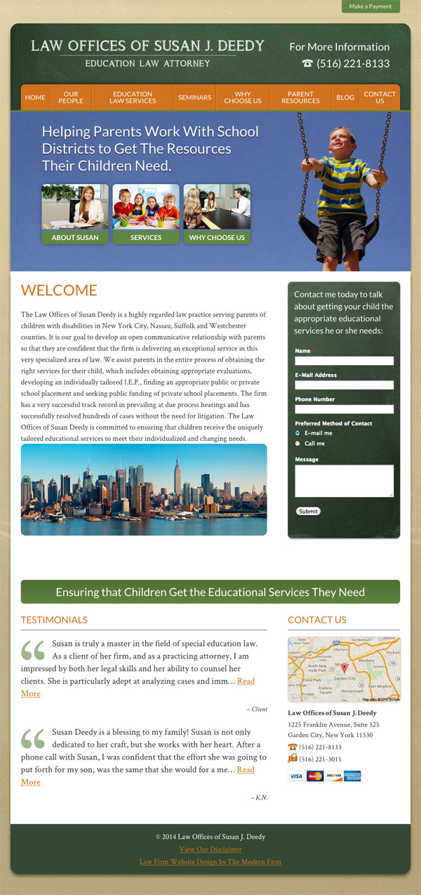 Law Firm Website Design for Law Offices of Susan J. Deedy
