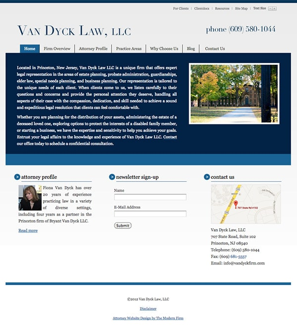 Law Firm Website Design for Van Dyck Law, LLC