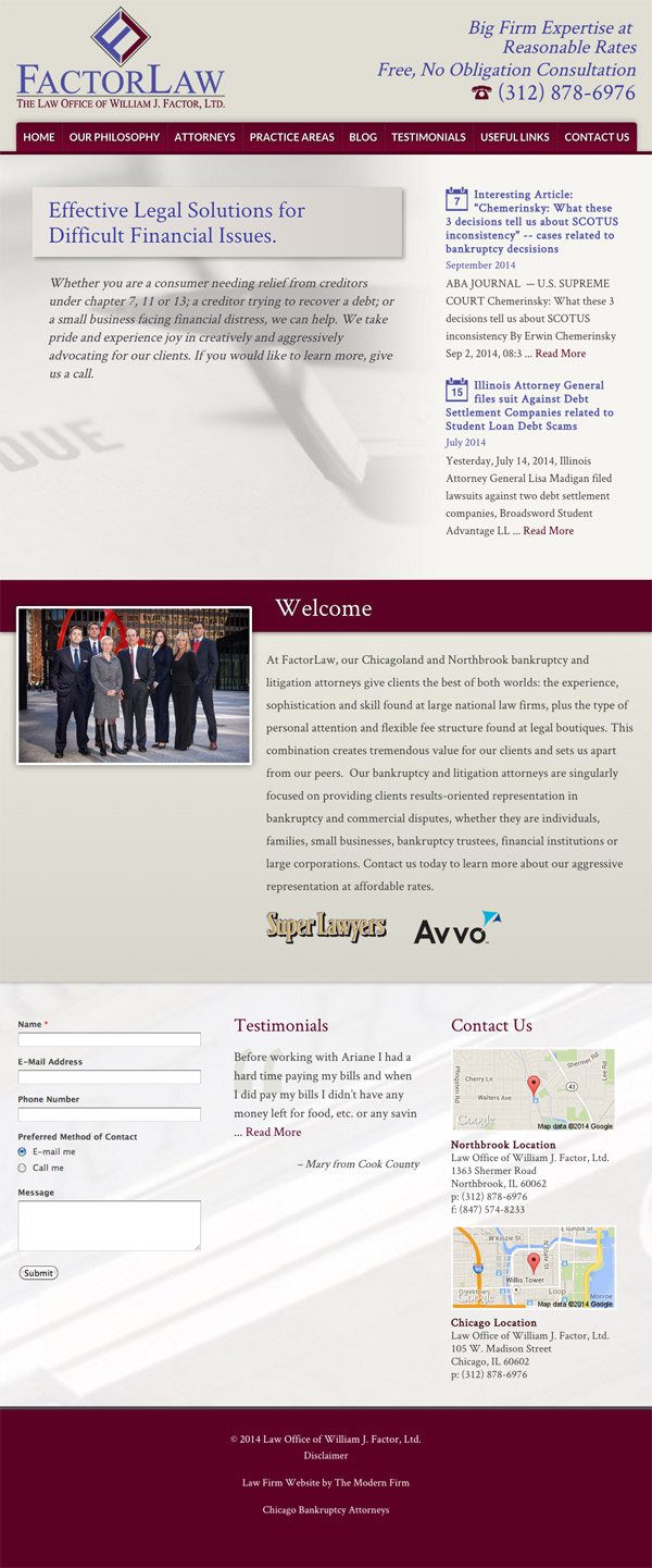 Law Firm Website Design for Law Office of William J. Factor, Ltd.