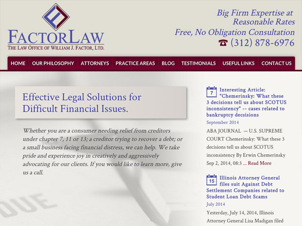Mobile Friendly Law Firm Webiste for Law Office of William J. Factor, Ltd.