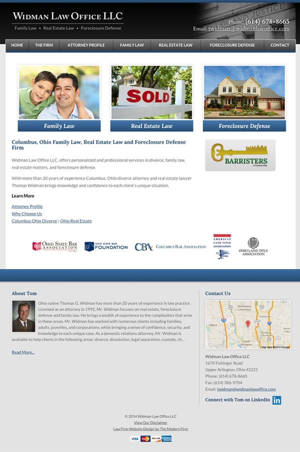 Law Firm Website Design for Widman Law Office LLC