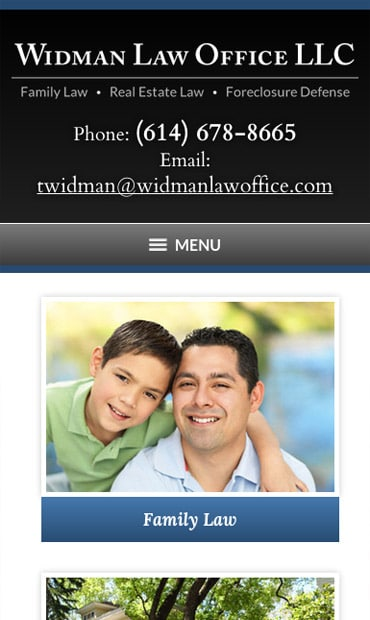 Responsive Mobile Attorney Website for Widman Law Office LLC