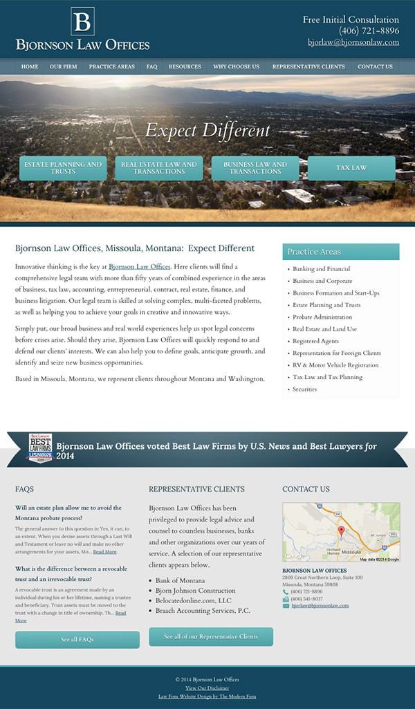 Law Firm Website Design for Bjornson Law Offices