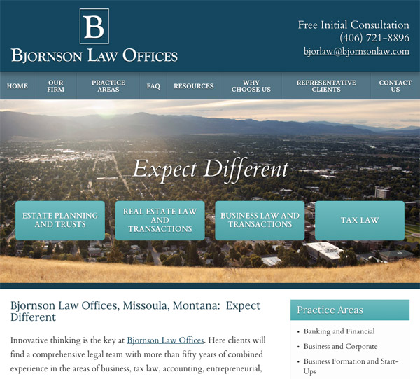 Mobile Friendly Law Firm Webiste for Bjornson Law Offices
