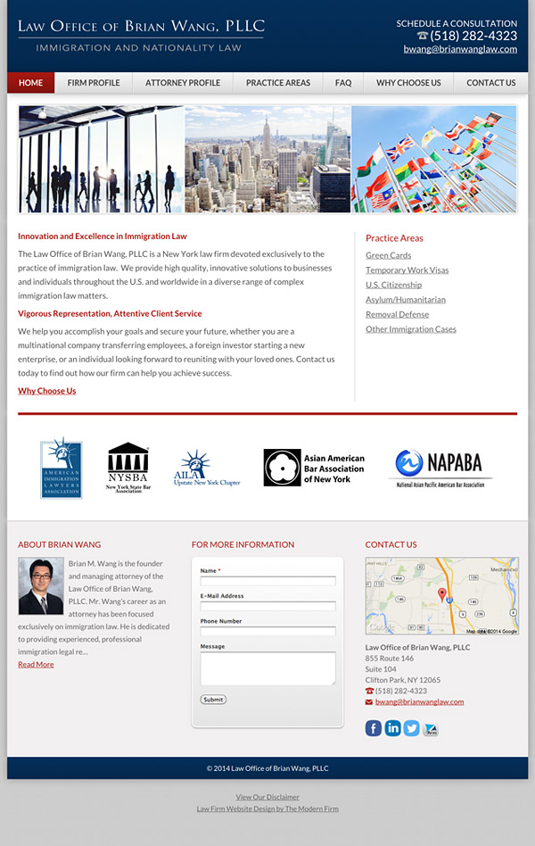 Law Firm Website Design for Law Office of Brian Wang, PLLC
